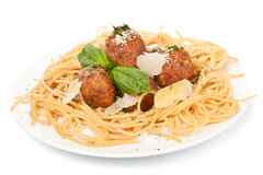 Spaghetti with Chicken Meatballs Royalty Free Stock Images