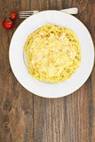 Spaghetti with Chicken, Onions, Carrots in a Creamy Sauce Royalty Free Stock Photos