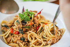 Spaghetti   chicken spaghetti. spicy chicken spaketty Stock Image