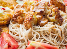 Spaghetti with chicken. Royalty Free Stock Photography