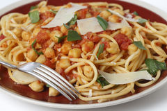 Spaghetti chickpea plate side view Royalty Free Stock Images