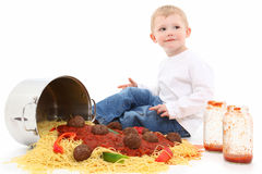 Spaghetti Children Royalty Free Stock Images