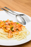 Spaghetti chili sauce with pork sausage Royalty Free Stock Photos
