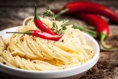 Spaghetti with chilli. Organic food. Stock Image
