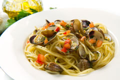 Spaghetti with clams Stock Photos