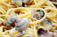 Spaghetti with clams closeup Royalty Free Stock Images