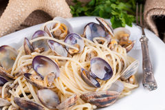 Spaghetti With Clams Closeup Royalty Free Stock Image