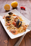 Spaghetti with clams, crayfish and shrimp Stock Photo