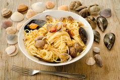 Spaghetti with clams and mussels Royalty Free Stock Image