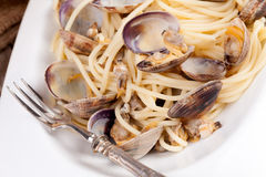 Spaghetti With Clams Overhead Stock Images
