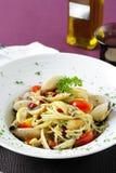 Spaghetti clams and parsley Royalty Free Stock Photo