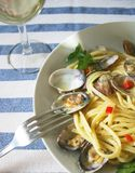 Spaghetti linguine with clams royalty free stock photography