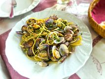 Spaghetti with clams. On the table Stock Photo