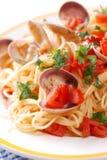 Spaghetti with clams Stock Photos