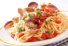 Spaghetti with clams Royalty Free Stock Images