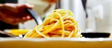Spaghetti closeup Royalty Free Stock Photos