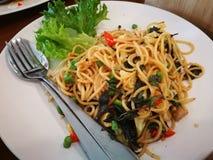 Spaghetti con basilico piccante Fotografie Stock