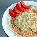 Spaghetti con besciamella fotografie stock