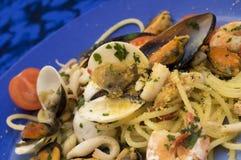 Spaghetti con frutti di mare Immagine Stock