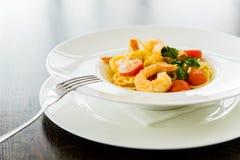 Spaghetti con gambero Fotografie Stock Libere da Diritti