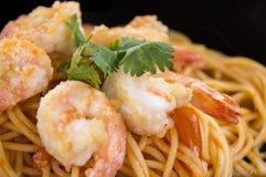 Spaghetti con gambero fotografia stock libera da diritti
