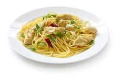 Spaghetti con i cuori di carciofo Immagini Stock Libere da Diritti