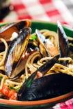 Spaghetti con i mitili Fotografia Stock