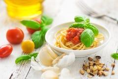 Spaghetti con i pomodori Fotografie Stock