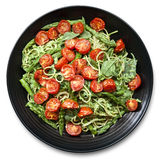 Spaghetti con i pomodori ed il pesto arrostiti dell'asparago Immagini Stock Libere da Diritti