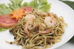 Spaghetti con il gamberetto Fotografia Stock