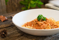 Spaghetti con il pollo in salsa al pomodoro Fotografie Stock