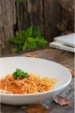 Spaghetti con il pollo in salsa al pomodoro Immagini Stock Libere da Diritti