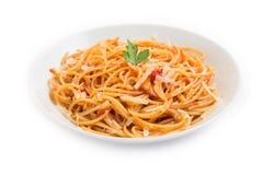 Spaghetti con il pomodoro ed il formaggio Immagine Stock