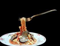 Spaghetti con la forcella Fotografie Stock