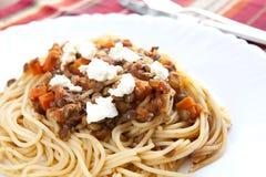 Spaghetti con la lenticchia Fotografie Stock Libere da Diritti