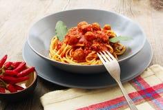 Spaghetti con la salsa della carne fotografia stock