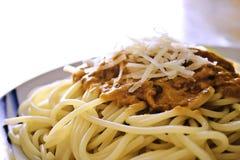 Spaghetti con la salsa di pomodori Immagine Stock