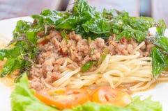 Spaghetti con le erbe miste della carne di maiale piccante Fotografie Stock Libere da Diritti