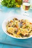 Spaghetti con le vongole, alimento Mediterraneo immagine stock libera da diritti
