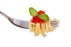 Spaghetti con salsa Immagini Stock