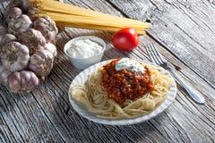Spaghetti con salsa al pomodoro Fotografia Stock Libera da Diritti