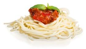 Spaghetti con salsa al pomodoro e spruzzati con Immagine Stock