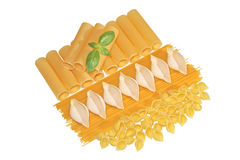 Spaghetti and conchiglie with basil Stock Photos