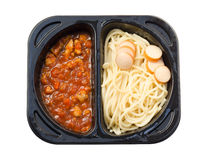 Spaghetti in convenience pack isolated Royalty Free Stock Photos