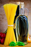 Spaghetti cooking ingredients Royalty Free Stock Photos