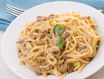 Spaghetti with cream sauce Stock Photography