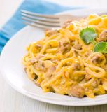 Spaghetti with cream sauce Stock Photo