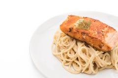 Spaghetti cream sauce with salmon Stock Photo