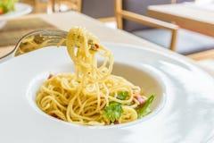 Spaghetti with Crispy Bacon Chili Recipe Stock Images