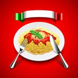 Spaghetti with cutlery and italian flag on red background. Spaghetti in plate with cutlery and italian flag on red background photo realistic vector Stock Images